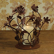 Candleholder Votive Holder in Rust Flower Design