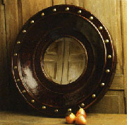 Portland Leather Covered Mirror 26 Inch Diameter HA-1391-28