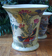 Discontinued, will not ship. Homart Paradise Large Flared Porcelain Cachepot HA-7034-35