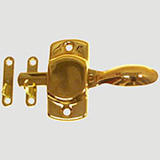 """F"" Universal Hoosier Cabinet Latch Brass Universal Left or Right  KC-2 BM-1605PB"