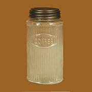 Hoosier Cabinet Glass Coffee Jar Round Mission Style Ribbed  RCJ-3
