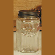 Hoosier Cabinet Glass Tea Jar Round Ribbed Mission Style GlassRTJ-4