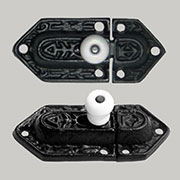 Slide Bolt Cabinet Cupboard Latch Black Cast Iron with White Porcelain Knob BL-1423 BM-9610