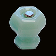 Jade Green Hexagon Shaped Glass Knob with Nickel Plated Bolt C-0325J BM-5172