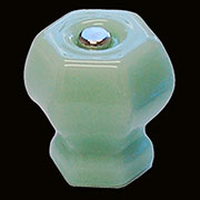 Jade Green Hexagon Shaped Glass Knob 1-1/2 Inch C-0326J BM-5173