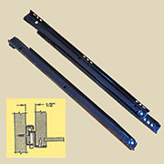 (E) Keyboard Trays Slides BLACK Captive Roller 14 Inches Long Self Close Black DC-6415SC14S