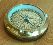 Brass Compass on a Wooden Base