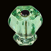 Light Green Hexagon Shaped Glass Knob with Nickel Plated Bolt C-0325A BM-5252