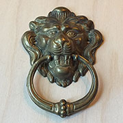 Victorian Antique Brass Finished Lion Ring Pull Large M2-1259B M4-1259B