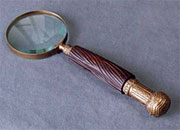 Magnifying Glass in a Bronze Finish with Carved Wooden Handle AA-51475