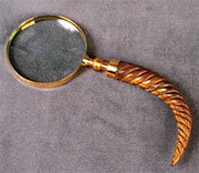 DISCONTINUED WILL NOT SHIP. Brass & Twisted Wood Curved Handle Magnifying Glass. AA-51003