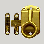 """L"" Napanee Style Brass Ring Pull Latch Right Hand KC-12 BM-1603PB"