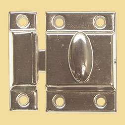 """B"" Vintage Turn Latch for Cupboard Cabinet Nickel Plated Stamped Steel.  BI-15N N-1442 BM-1618PN"