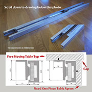 Metal Reciprocating Table Slides Aluminum Pair DC-6011200U