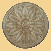 3-1/2 Inch Diameter Round Daisy Design Oak Wood Applique  W3-5799
