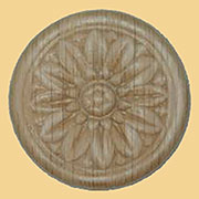 2 Inch Diameter Round Flower Design Oak Wood Applique W3-5794