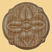Round Flower Design Oak Wood Applique Ornament  W3-5793