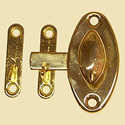 """H"" Hoosier Style Oval Latch BM-1607PB  Brass KC-6"