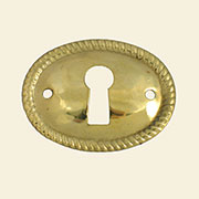 Stamped Brass Oval Rope Edged Keyhole Cover Horizontal. E-2A B-0249 BM-1210