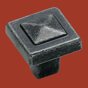 Mission Style Arts and Crafts Pewter Finish Pyramid Knob