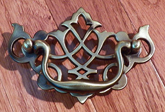 antique brass pierced chippendale drawer pull 3 inch centers