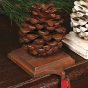 Pinecone Stocking Holder Rust Cast Iron by Homart DISCONTINUED WIILL NOT SHIP. HA-1570-1