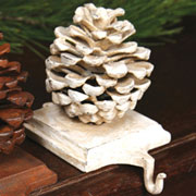 Pinecone Stocking Holder White Cast Iron by Homart HA-1570-6
