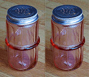 Pair of Depression Pink Hoosier Colonial Spice Jar, HSJ-1P AA-16135