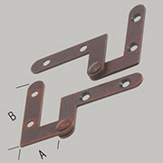 Bottom and Top of Door Hinges Pair Right Angle Inset 1-1/2 Inches Long H-1595TPL