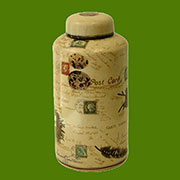 Post and Quill Porcelain Lidded Jar by Homart HA-7044-46