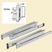 Pair of Heavy Duty Full Extension Drawer Slides D-2040/18 18 Inch Length