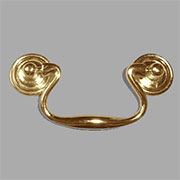 Brass Plated Queen Anne Drawer Pull 3 Inch Centers TR-T4542/3P