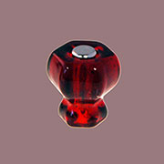 Ruby Red Hexagon Shaped Glass Knob with Nickel Plated Bolt. One Inch C-0324R BM-5221