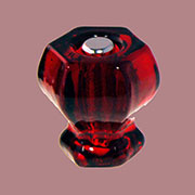 Red Hexagon Shaped Glass Knob with Nickel Plated Bolt C-0325R BM-5222