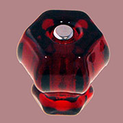 Red Hexagon Shaped Glass Knob 1-1/2 Inch C-0326R BM-5223