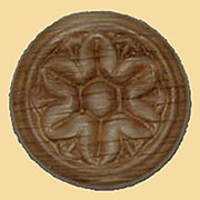1 Inch Diameter Round Pressed Oak Floral Ornament W3-5790