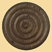 1-1/4 Inch Diameter Round Walnut Turned Rosette Wood Ornament W2-5760