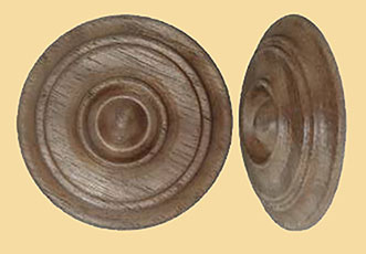 1-5/8 Inch Diameter Round Turned Walnut Wood Rosette Applique W2-5782