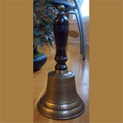 DISCONTINUED WILL NOT SHIP. Antiqued Brass School Hand Bell UDB-108