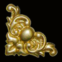 Stamped Brass Corner Ornament for Boxes and Picture Frames Sold by each B-4679