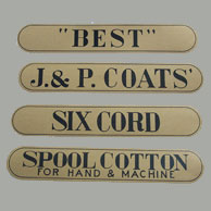 Spool Cabinet Drawer Decal Label 4 Piece Set J&P Coats  H-1010