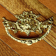 Victorian Cast Brass Lions Head Drawer Pull with 3 Inch Centers B-0678
