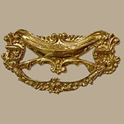 Victorian Drape Drawer Pull in Cast Brass with 3 Inch Centers. B-0673