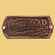 Solid Antique Brass White Clad Ice Box Label